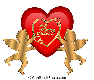 Valentine Heart and Cupids Graphic - 3D Valentine...