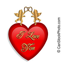 Valentines day Heart and Cupids Graphic