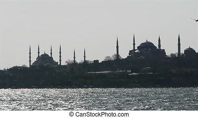 Two mosques from a sea in Istanbul, Turkey