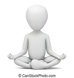 3d small people - meditation. 3d image. On a white...