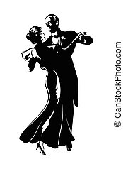 Dancing pair - Classic dancing pair silhouette isolated