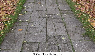 walking on old cracked pavement