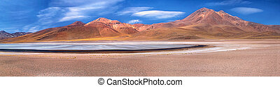 panorama of lagoon Miscanti and volcano Miniques - panorama...
