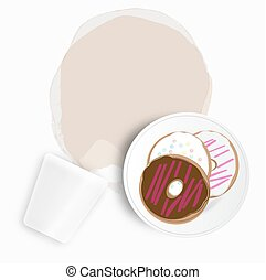 Doughnuts with spilled coffee or tea