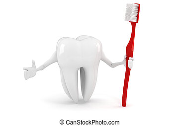 3d tooth with tooth brush on white background