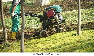 Tilling a garden with a rototiller