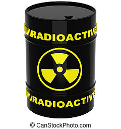Barrel with radioactive materials on a white background