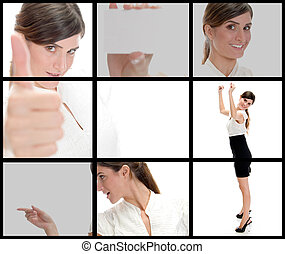 collection of different poses of young businesswoman on...