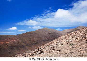Southern Fuerteventura, Jandia, view along the Barranco de...