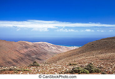 Southern Fuerteventura, Jandia, view along the Barranco de...