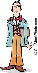 Cartoon poet or eccentric man caricature - Cartoon...