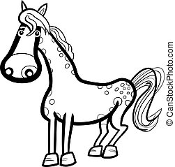 horse farm animal cartoon for coloring - Black and White...
