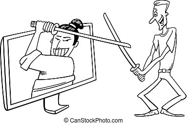 Cartoon man and interactive television - Black and White...