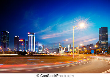 city - night view of the century avenue in city