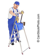 house painter with ladder