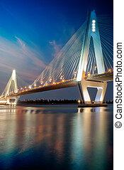 Bridge - Night traffic lights inside of the Garden Bridge of...