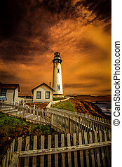Lighthouse on California coast - White Picket Fence leading...