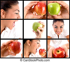 photomontage of woman eating apple - photo montage of woman...
