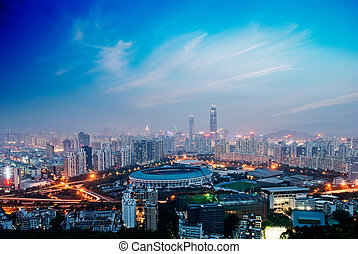 shenzhen - China's Shenzhen city in the night