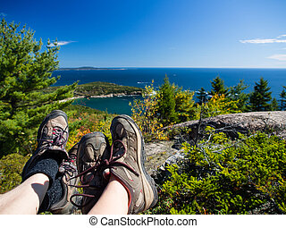 Hiking in Acadia National Park - Resting at the top of a...