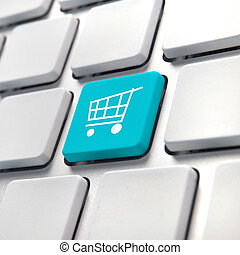 Shopping cart computer key, online internet buying concept.