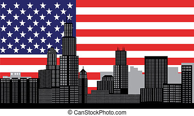 chicago skyline with flag - chicago skyline