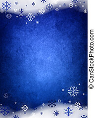 Ice blue christmas background with snow and snowflakes