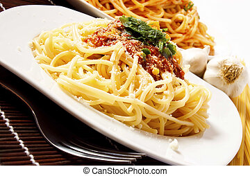 Pasta with sauce and parmesan