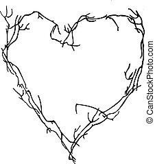 Wektor, serce, Robiony, gałązki