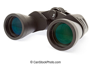 Binocular on white surface - closeup shot - isolated