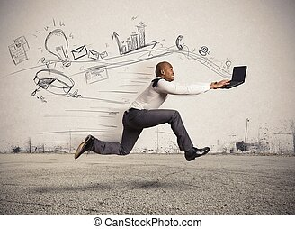 Fast business - Concept of fast business with running...