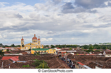 Granada cathedral - View over colonial Granada and the...