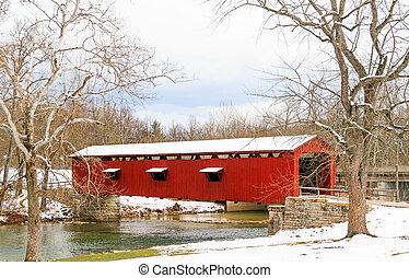 catarata, quedas, coberto, ponte, Indiana