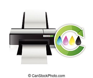printer cmyk color cycle concept