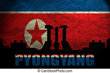 View of Pyongyang on the Grunge North Korean Flag