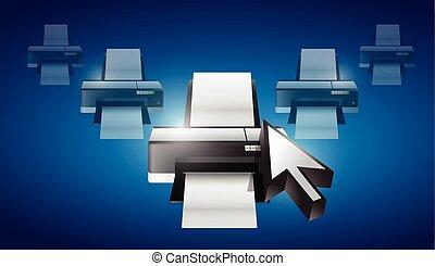 printer cursor selection concept