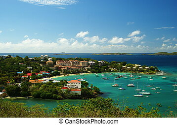 St. John, US Virgin Islands - Overlooking the bay of...