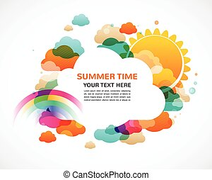 colorful clouds, rainbow and sun, abstract vector background