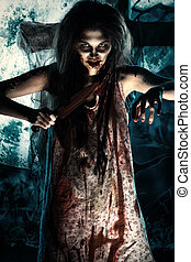 nightie - Bloodthirsty zombi with a knife standing at the...