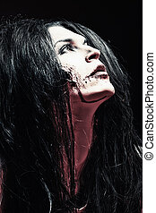 slaughterous - Close-up portrait of a bloodthirsty gnarling...