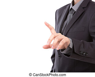 Business man touching an imaginary screen against white...