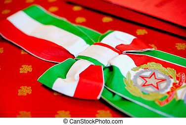 Celebration cockade with the colors of the Italian flag