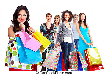 Shopping woman group Isolated on white background