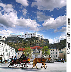 Horse-drawn in Salzburg - SALZBURG / AUSTRIA - APRIL 16:...