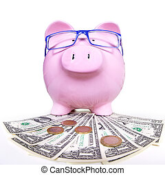 Piggy bank with money Saving account concept background