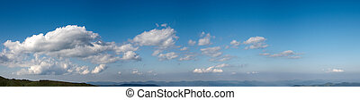 Blue sky panorama - Blue height sky above the mountains with...