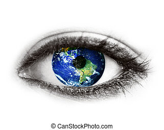 Planet earth in eye isolated on white - quot;Elements of...