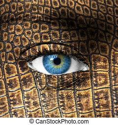 humano, ojo, lagarto, piel, textura, -, Mutación,...