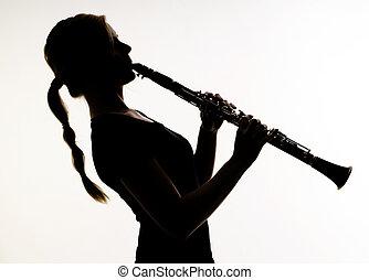 hembra, músico, silueta, prácticas, woodwind,...