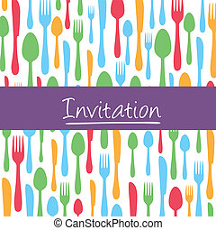 Dinner invitation card with cutlery - Stylish invitation...